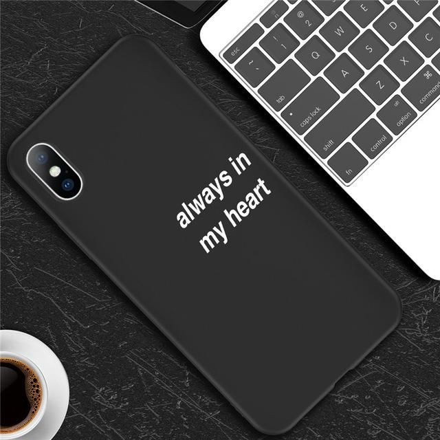 USLION Simple Letter Phone Case For iPhone X 6 S 7 8 Plus 5 5s SE Smile Feather Silicon Soft Cover For iPhone XS Max XR Cases - For iPhone 8 AC3340